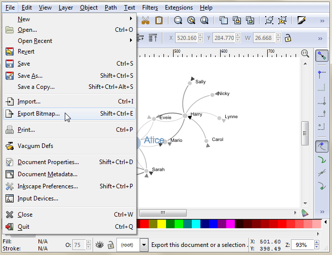 Inkscape Export Bitmap menu