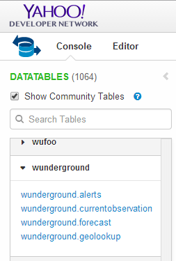 Select Community Tables and wunderground.currentobservation