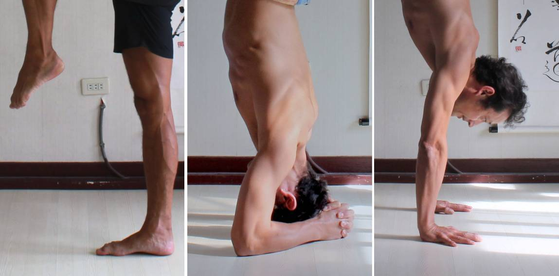 Foundations formed by standing on one foot, bound headstand, and handstand