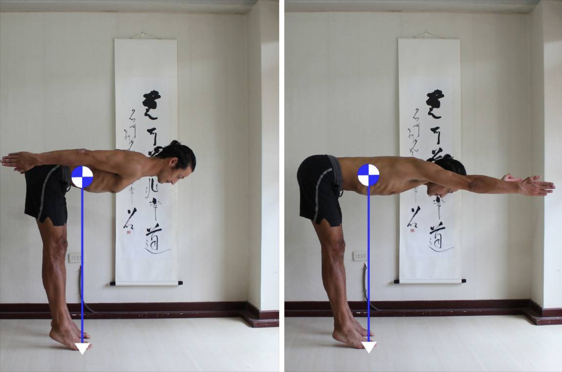 1. In the first picture my legs are more vertical. My center is further away from my head 2. In the second picture, with my arms reaching forwards, my legs are angle to the left. My center has moved closer to my head