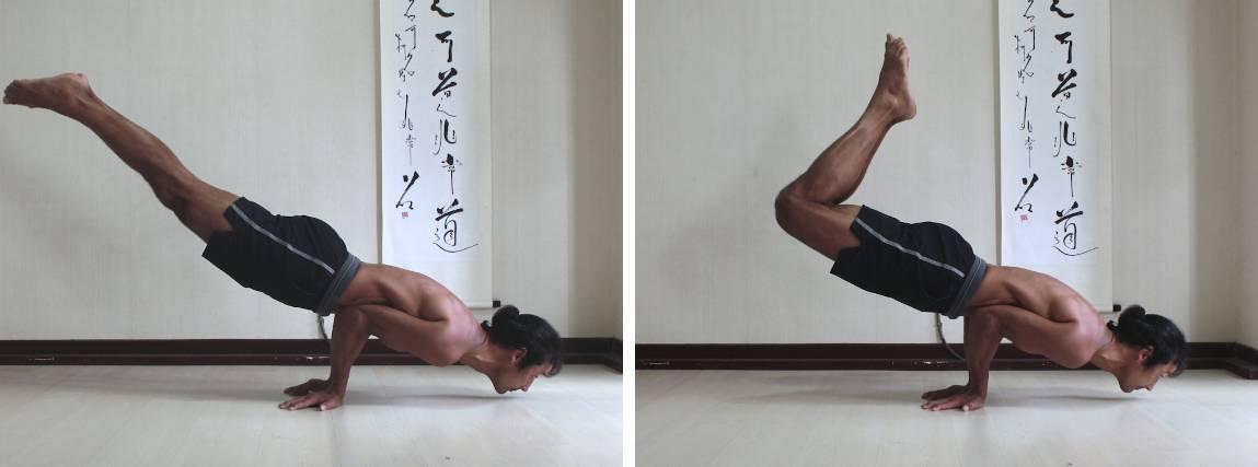 1. Peacock pose (mayurasana) with knees straight. 2. With knees bent.