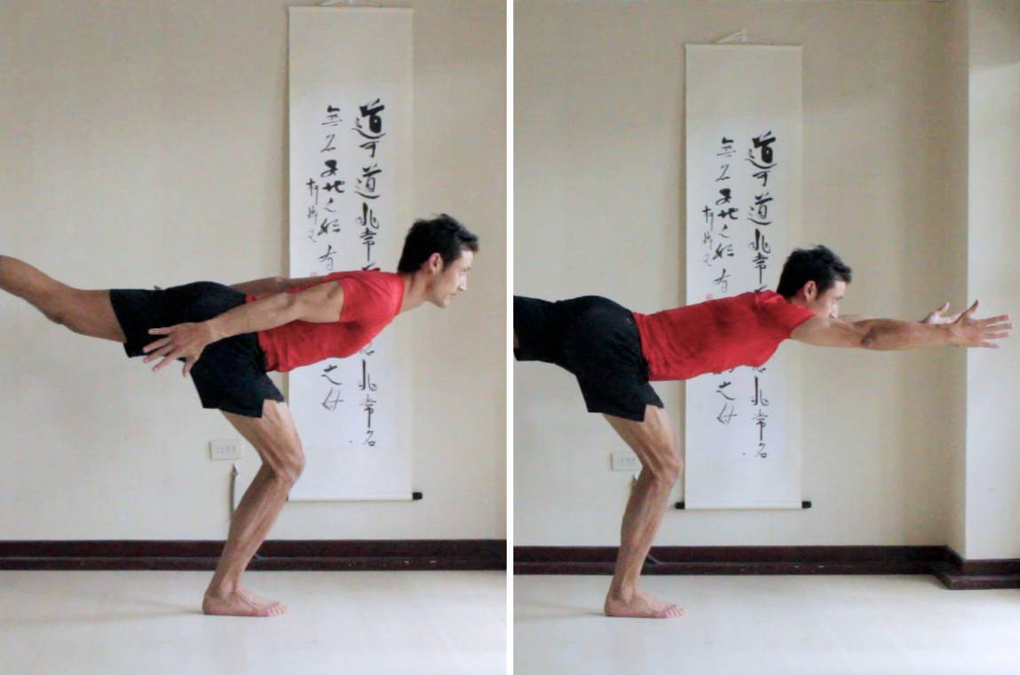 Warrior 3 with Standing Knee Bent:   1. Arms back.    2. Arms reaching forwards.
