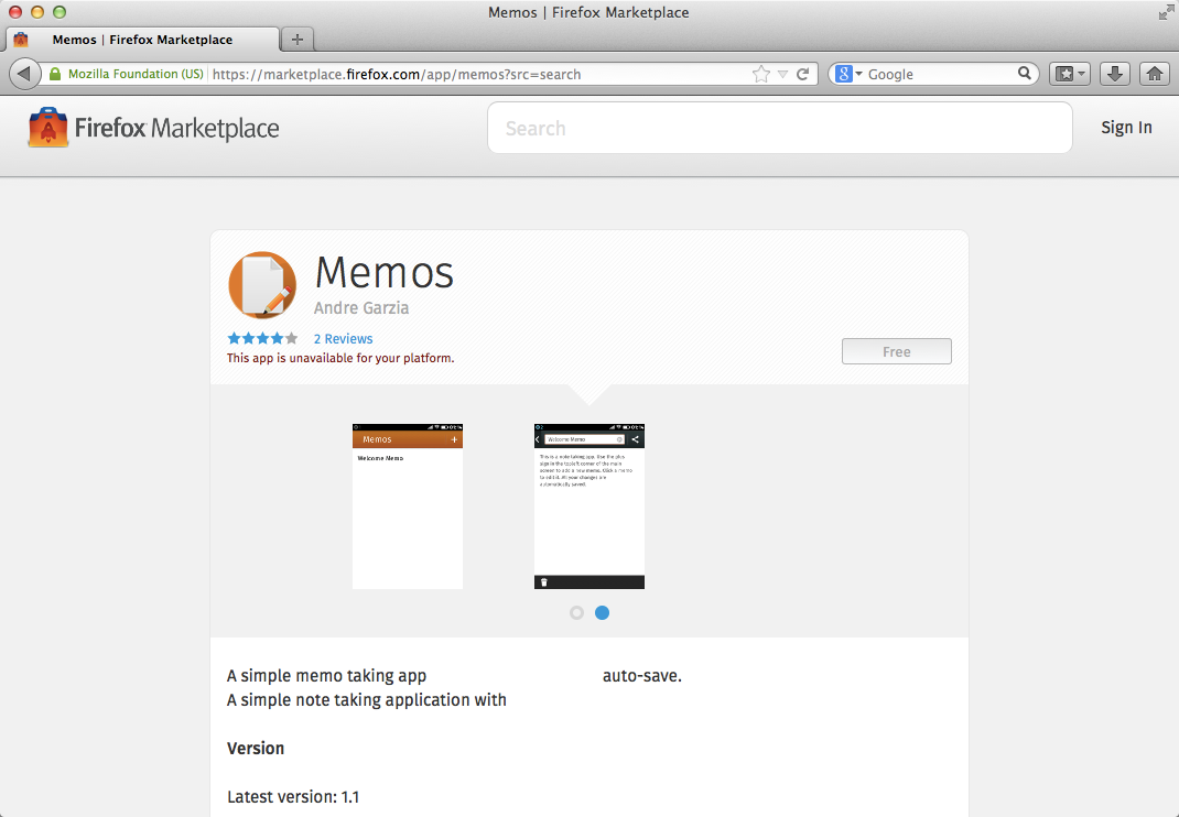 Memos app shown at the Firefox Marketplace
