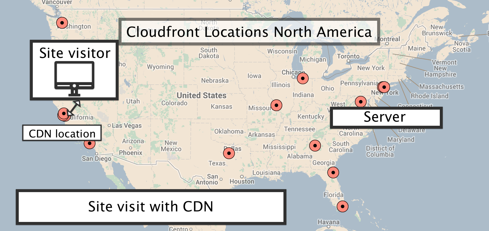 Site visit with CDN goes to closest CloudFront location
