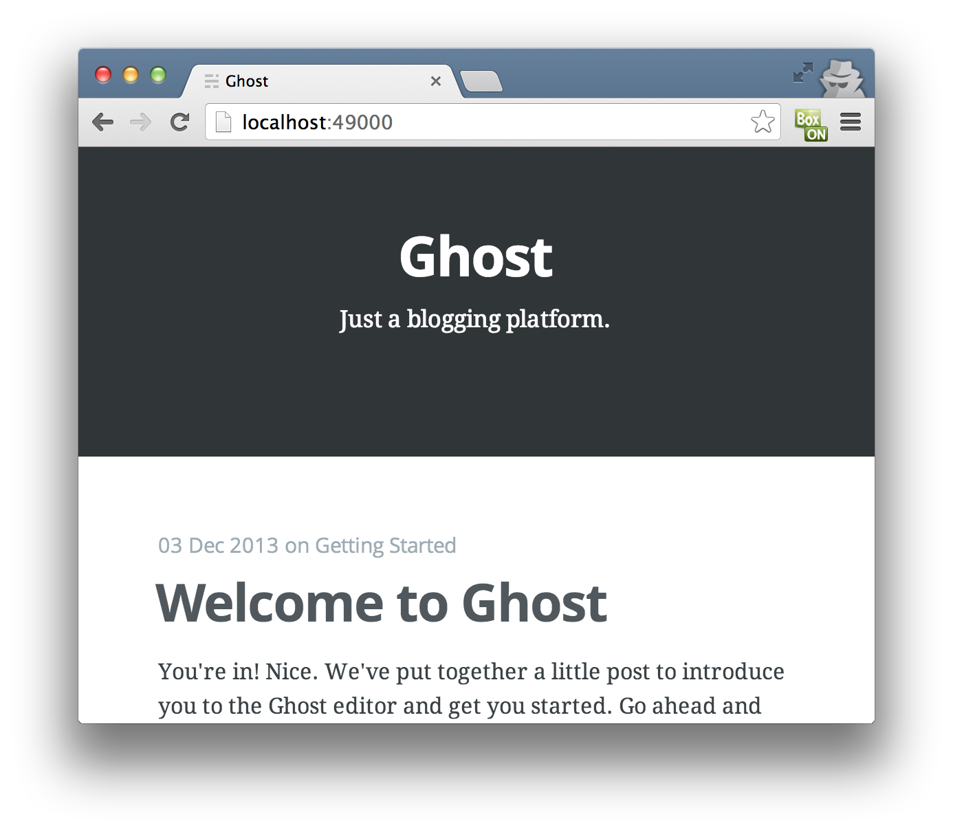 Figure B: A Ghost blog in a Docker container in a VM, displayed on a browser in OS X