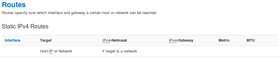 Network -> Static Routes