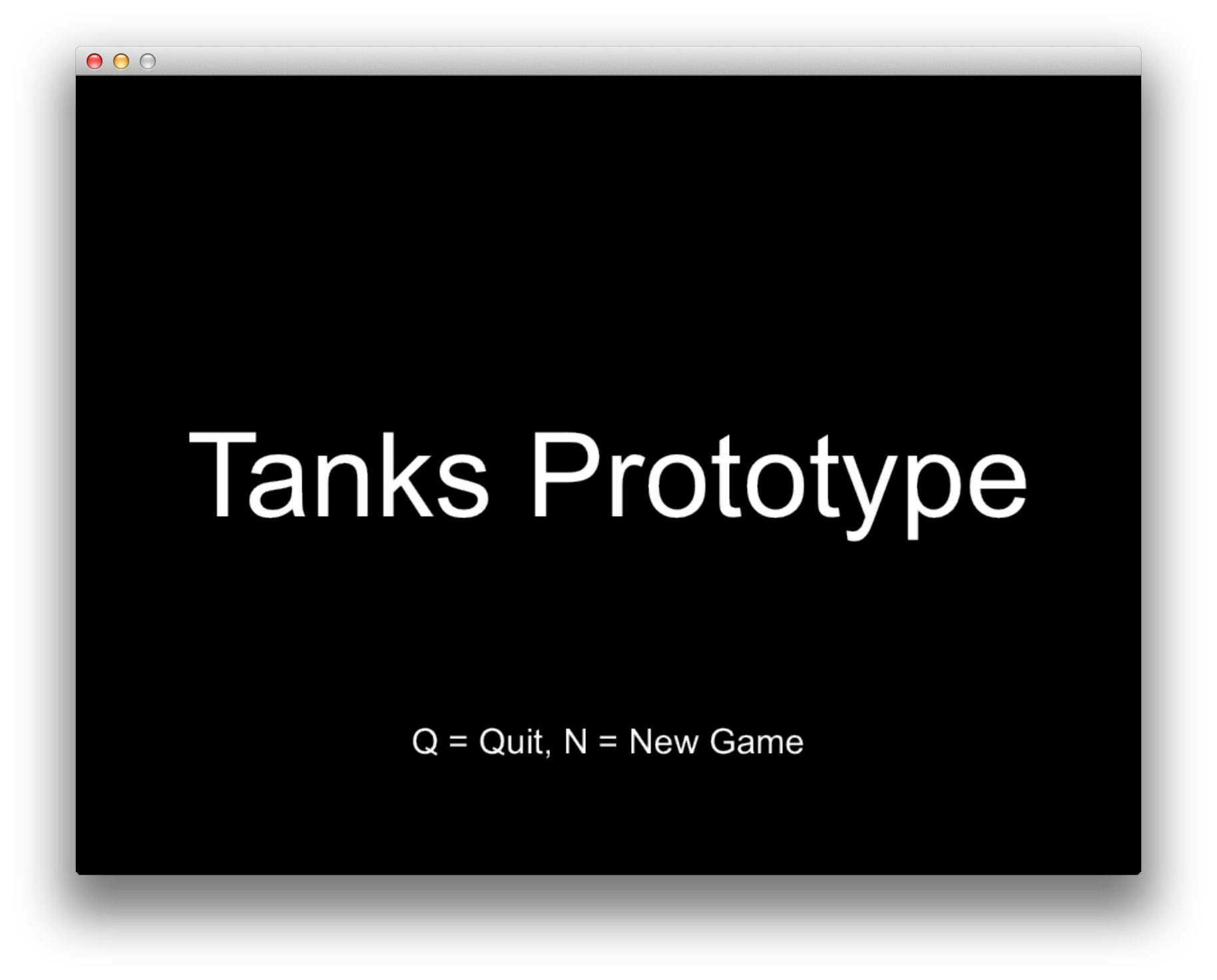 Tanks Prototype menu