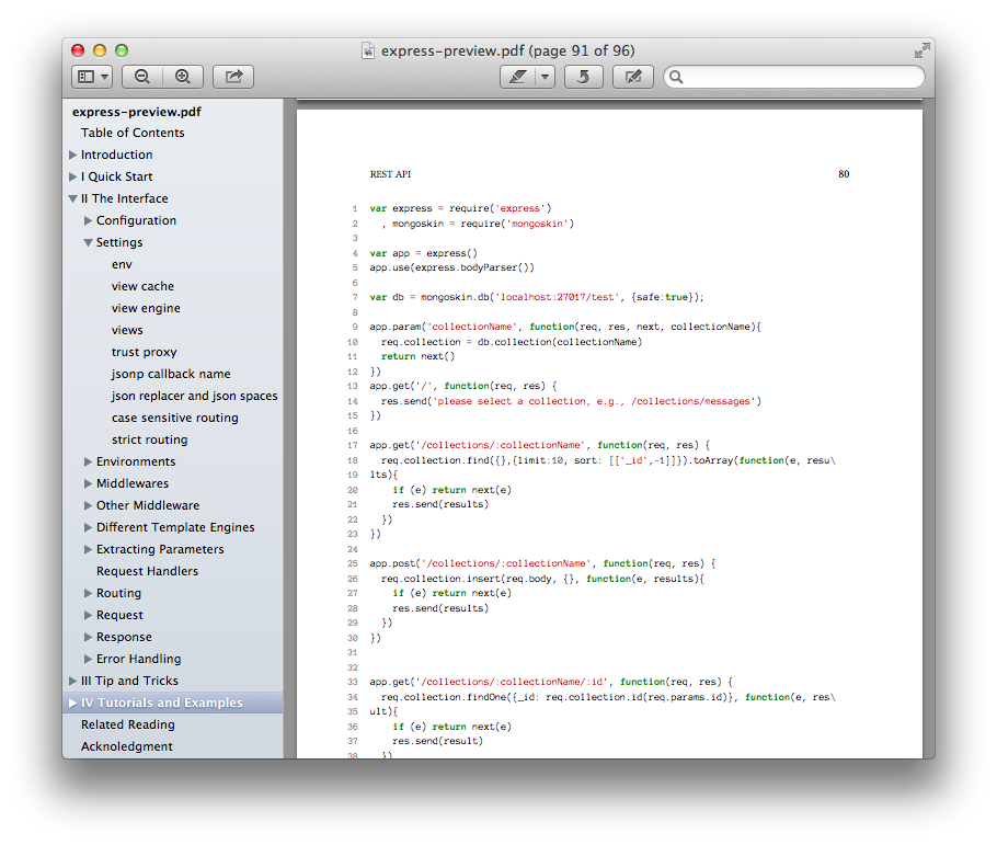 The Table of Contents pane in the Mac OS X Preview app.