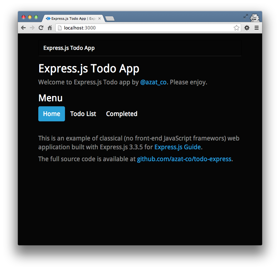The Todo app home page.