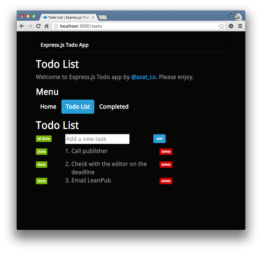 The Todo List page with one item marked done.