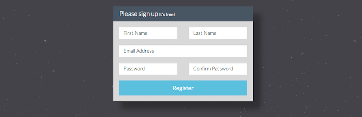 Registration form that you'll build