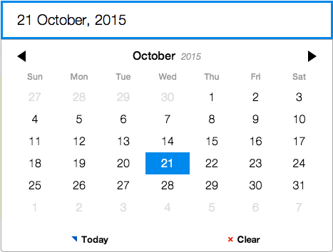 Full featured date picker with Pickadate plugin