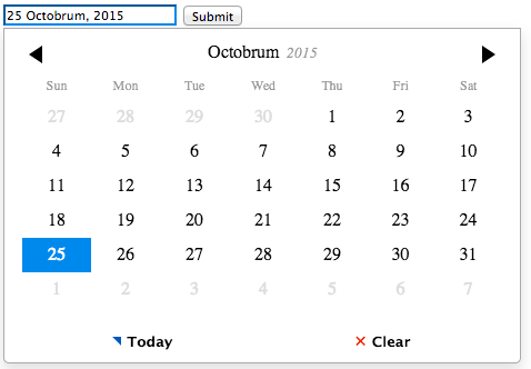 Figure 8.5 Pirate themed datepicker
