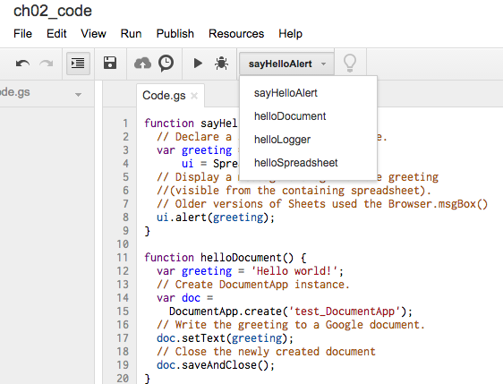 "Figure 2-1: Google Apps Script Editor displaying the code and the ""Select function"" drop-down list."