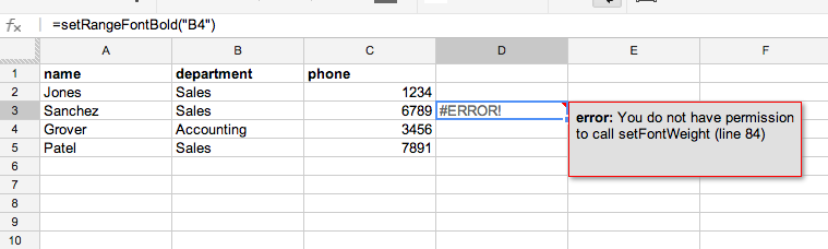 Figure 3-1: Error displayed when calling a function with side effects from a spreadsheet.