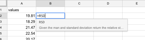 Figure 3-3: *Calling the RSD function in Google Sheets with provided autocomplete.