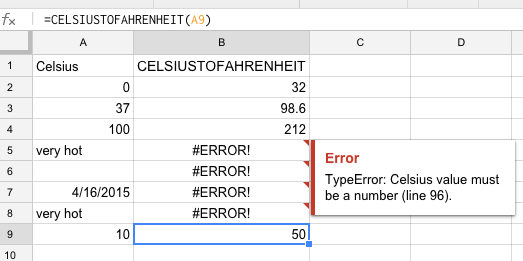 Figure 3-4: Input and output for user-defined function *CELSIUSTOFAHRENHEIT* and .