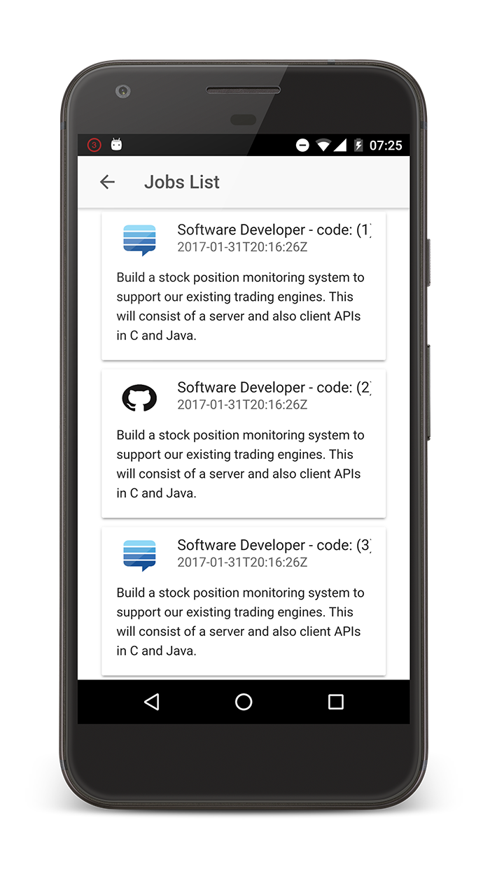 List of jobs on Android device