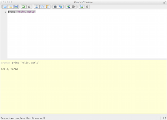 Screen shot of the Groovy Console application window with the hello, world script