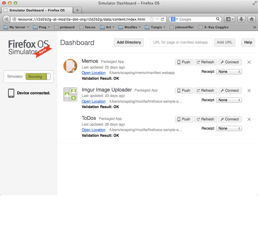Dashboard do Simulador do Firefox OS