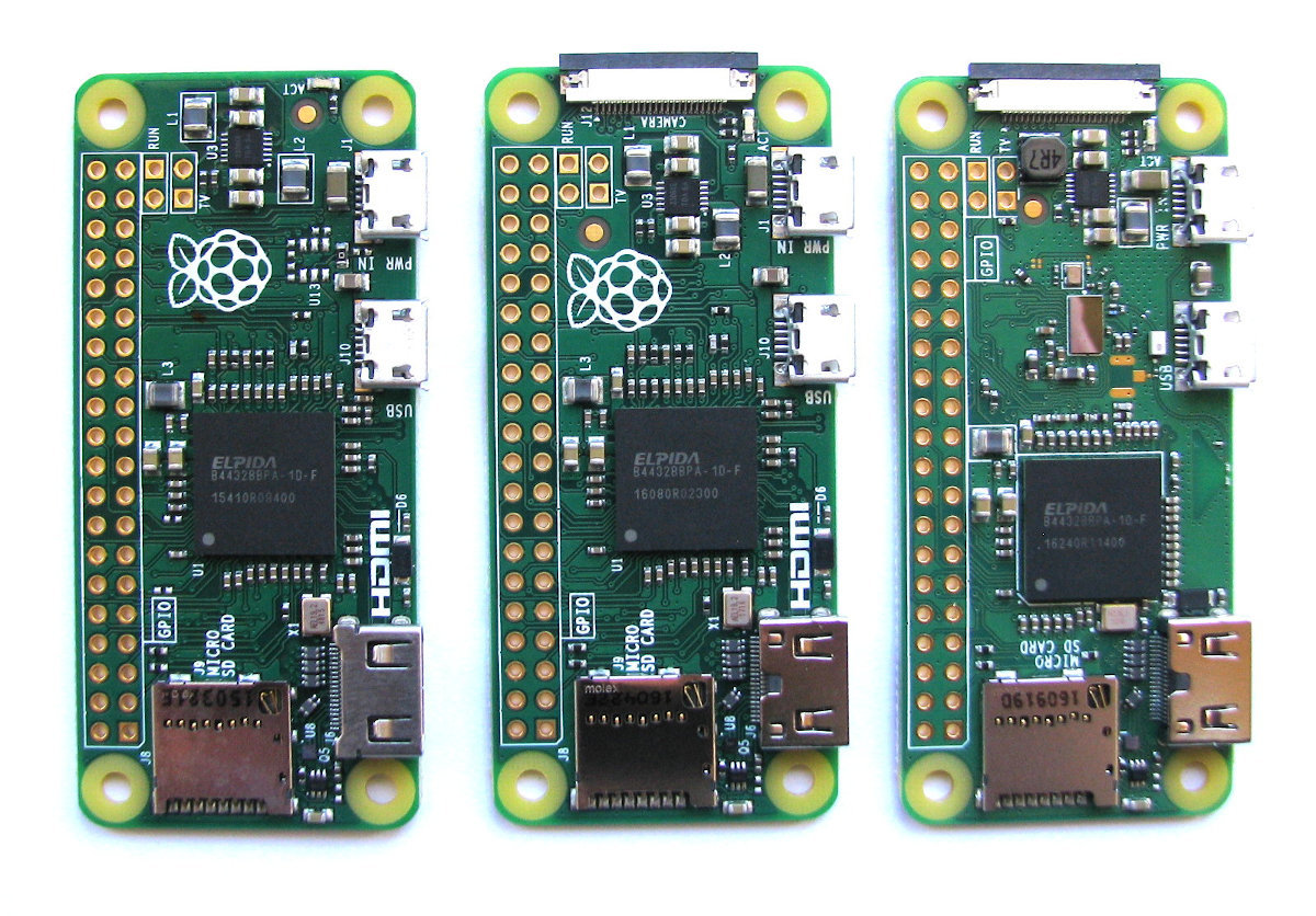 From left to right the Pi Zero v1.2, v1.3 and the Zero W v1.1