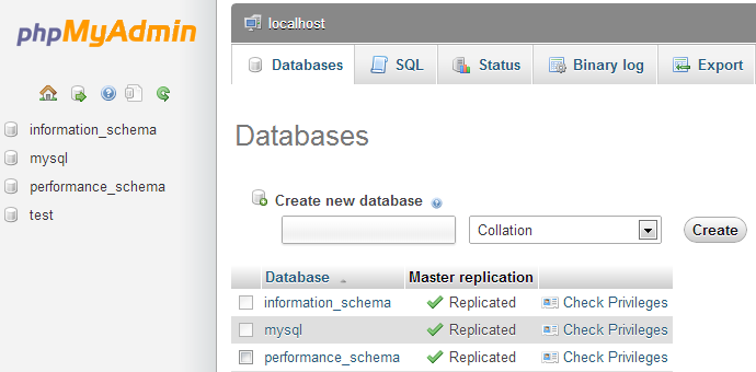 The Databases tab