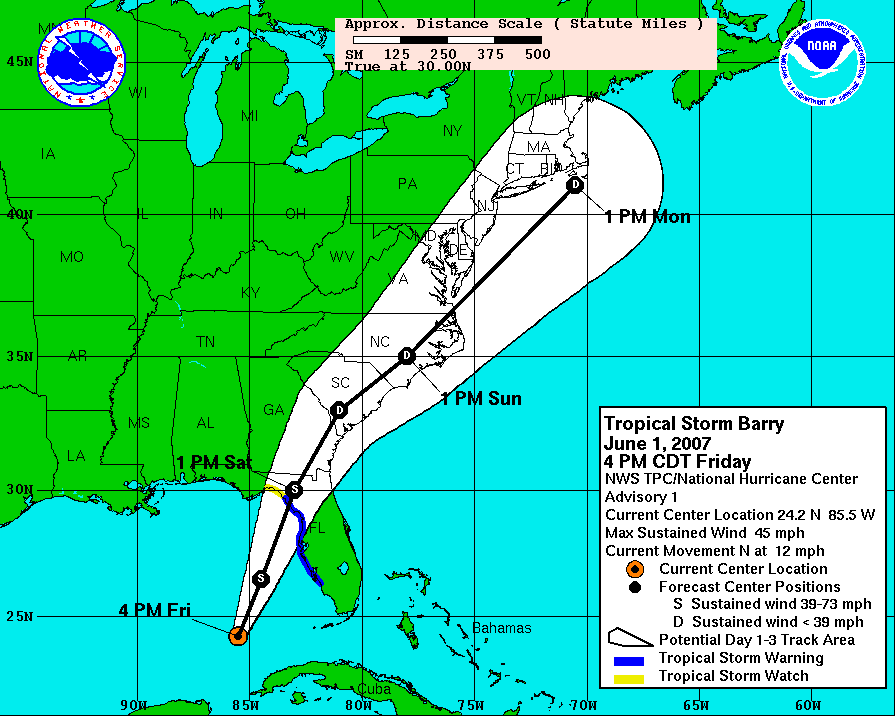 Cone of uncertainty, meteorological version