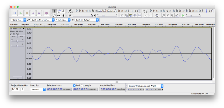 Waveform zoomed in showing a graph of the sound wave as it alternates above and below zero