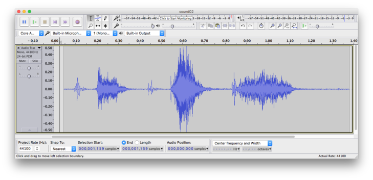 Waveform zoomed out. Individual alternations above and below zero are now too small to be seen, but we may observe three large and a couple of smaller sound bursts