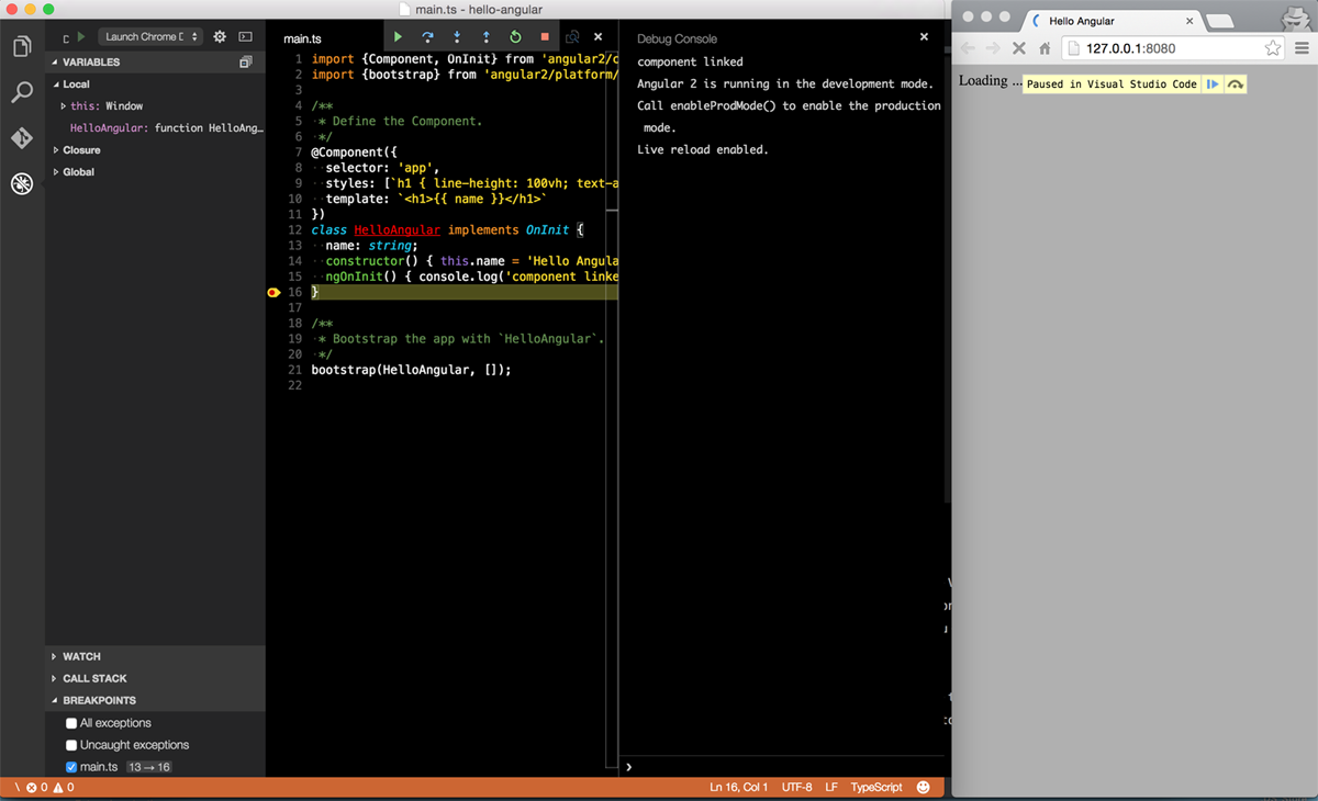 Debugging the app with Chrome Debugger in VSCode
