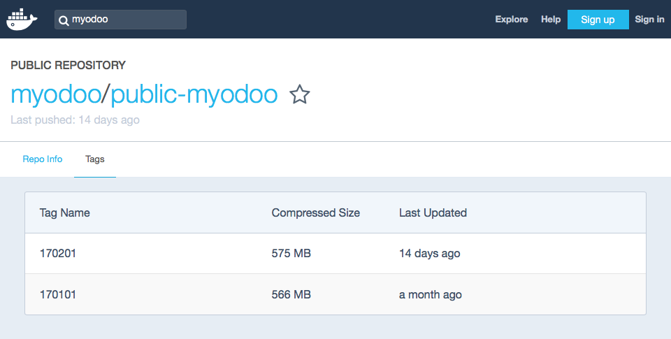 Docker - MyOdoo Tags