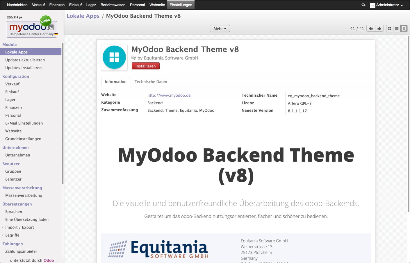 Odoo: MyOdoo Backend Theme v8