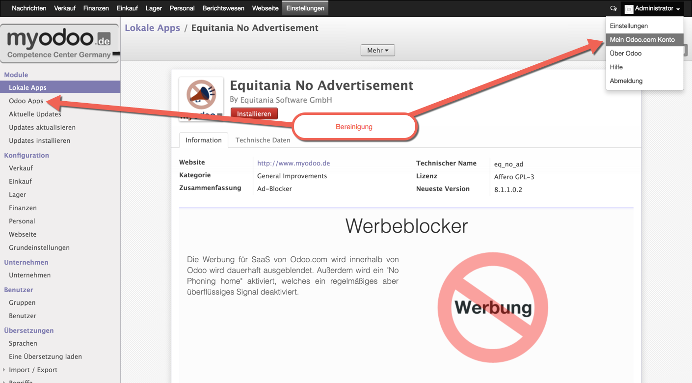 Odoo: Equitania No Advertisement