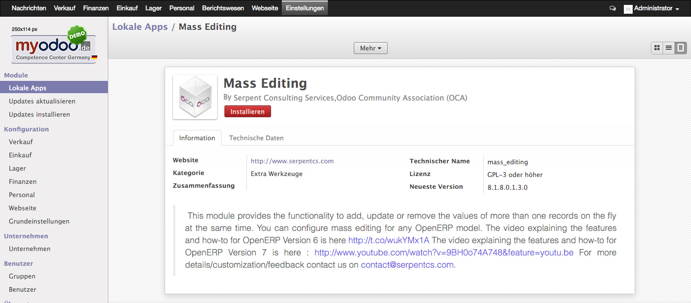 Odoo: mass_editing