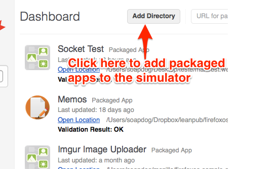Showing the *Add Directory* button that adds a packaged app to the simulator