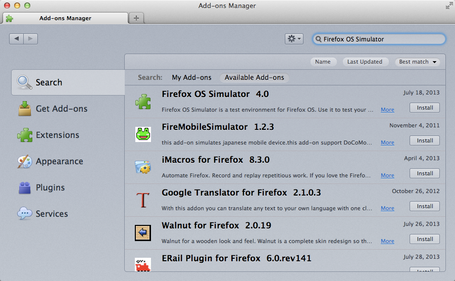 Add-on manager showing the simulator add-on
