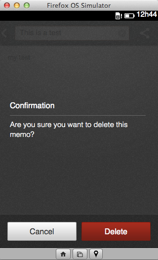 Memos, note removal confirmation screen