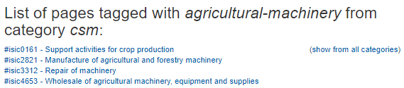 ISIC classes that mention agricultural machinery