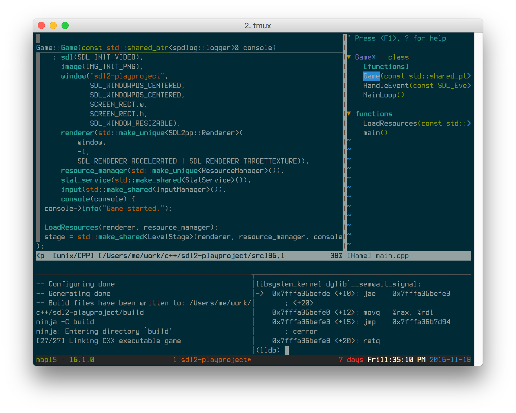 vim + building a C++ project w/ CMake + Ninja using entr to rebuild on file changes, lldb bottom right