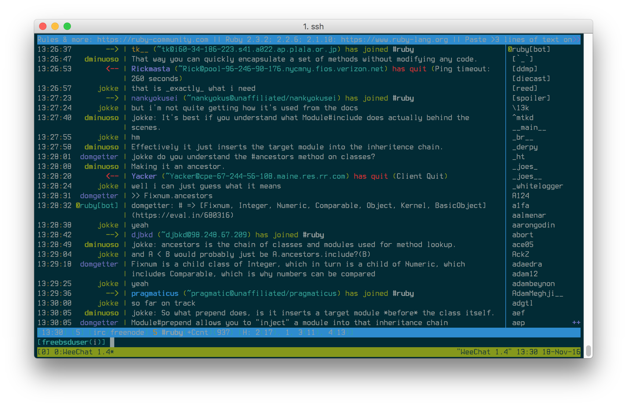 Chatting on weechat w/ tmux