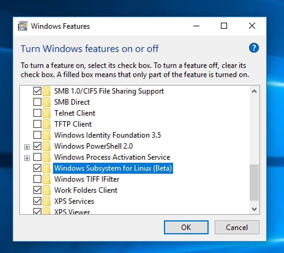 Check Windows Subsystem for Linux (Beta)