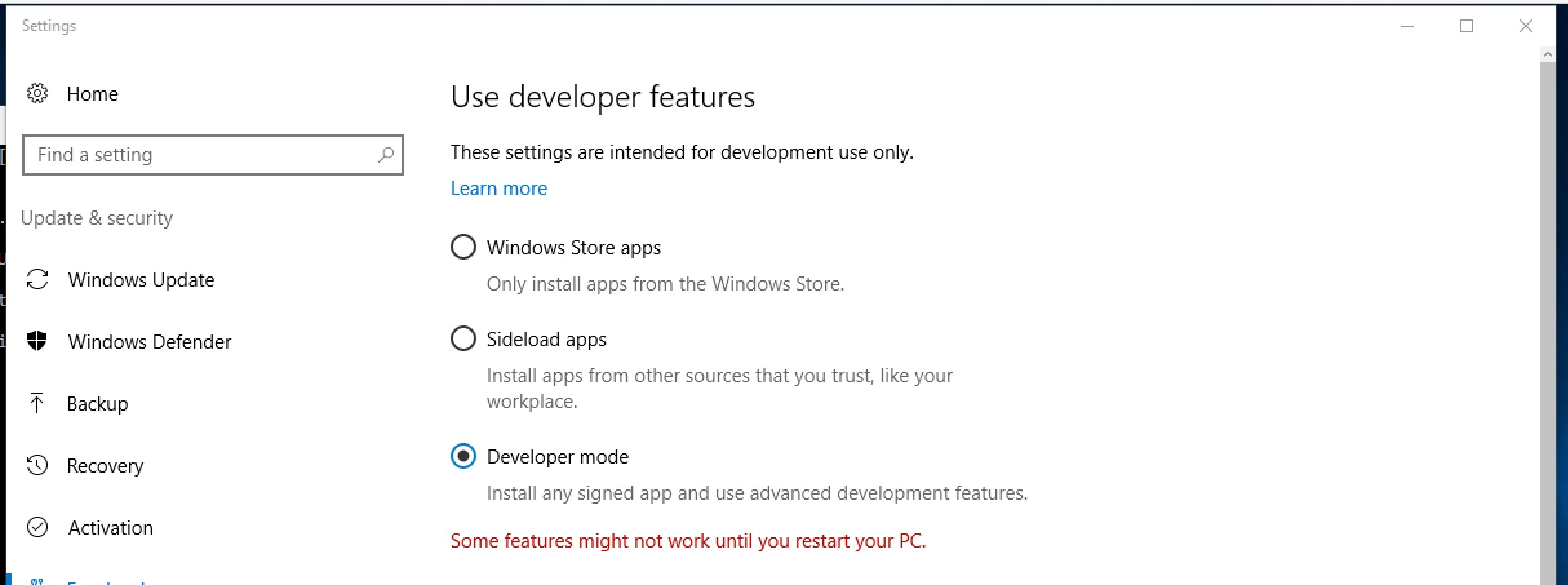 Select Developer mode in Update & Security