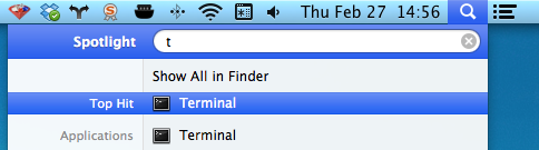 *Terminal* app in *Spotlight*