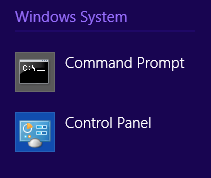 *Command Prompt* app on Windows 8.1 *Apps* screen