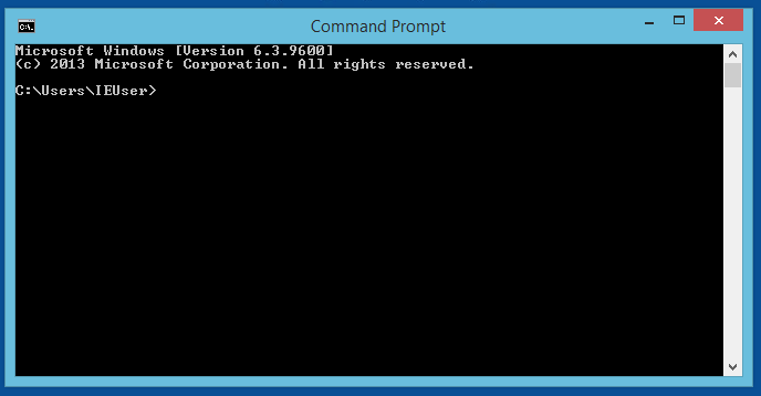 *Command Prompt* app on Windows 8.1
