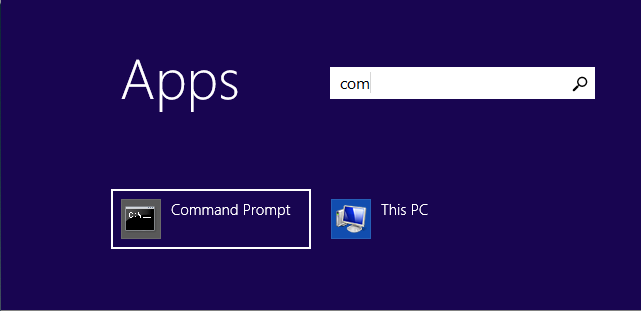 Searching for *Command Prompt* app on Windows 8.1