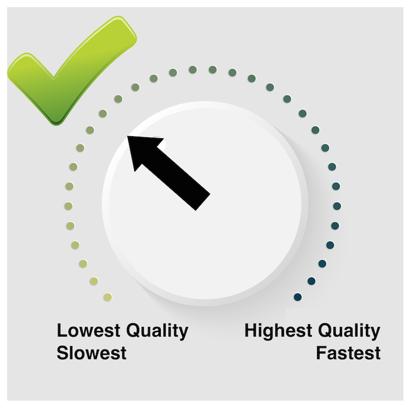 In software turning quality up increases speed