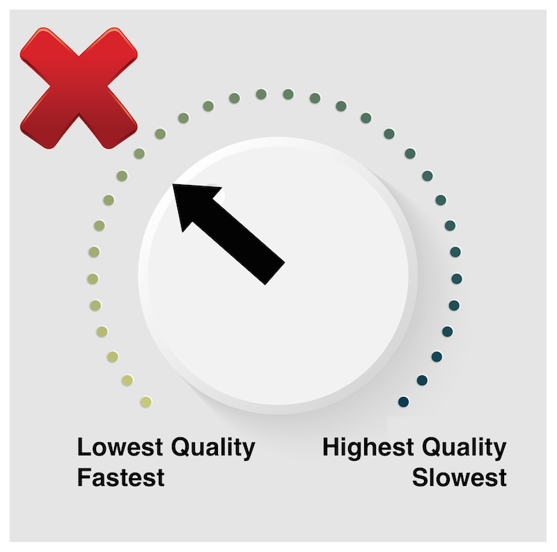 False belief that turning quality down increases speed