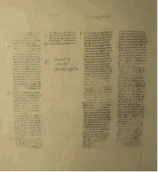 A Palimpset: A small portion of Codex Ephraemi Rescriptus with the underlying text highlighted by use of chemical regents and ultraviolet light.