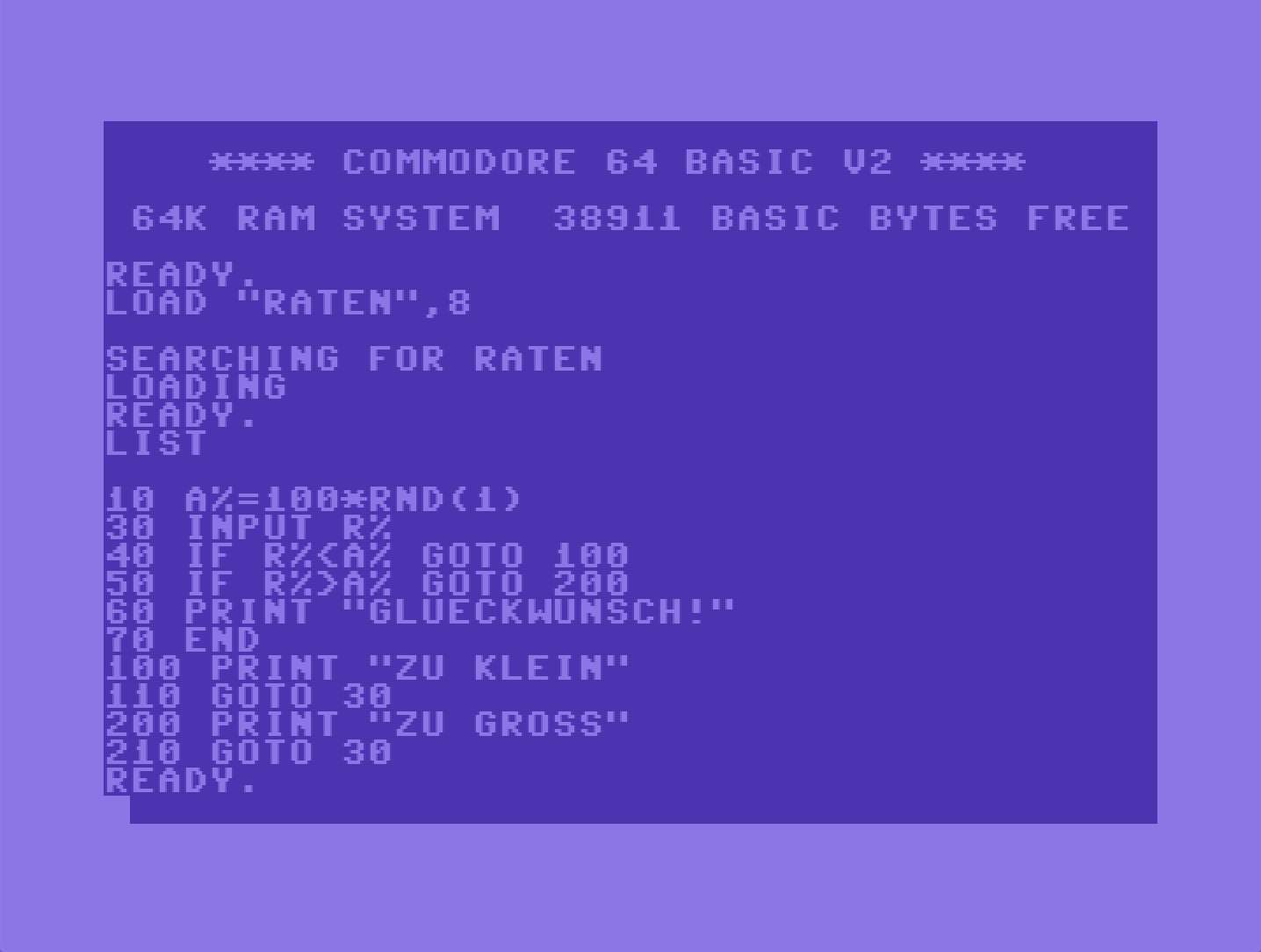 Loading a programme on the Commodore 64